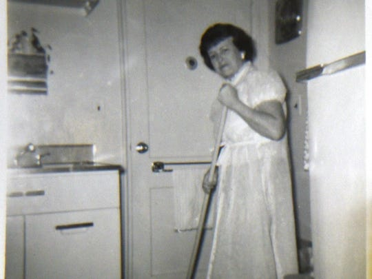 An undated photo of Adele working as a homemaker.