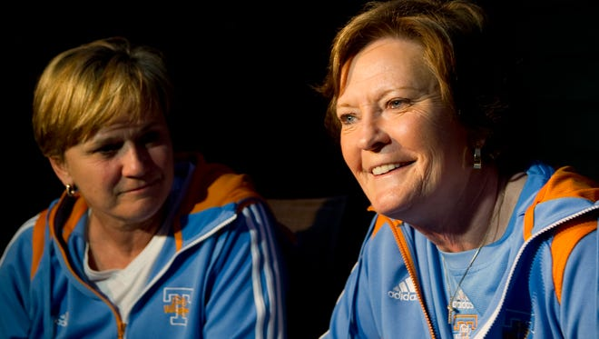 Tennessee head coach Pat Summitt and associate head coach Holly Warlick smile are interviewed at Summitt's home March 12, 2012, regarding their team's No. 2 seeding in the Des Moines regional of the NCAA tournament.