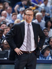 Former Oklahoma City Thunder coach Scott Brooks looks on against the Memphis Grizzlies in 2014.