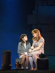 """Jennifer Bowles, see here as Miss Honey, offering support to Gabby Gutierrez, one of three girls alternating in the title role of """"Matilda the Musical."""" The stage adaptation of Roald Dahl's book runs April 4-16 at the Aronoff Center as part of the Broadway in Cincinnati series."""