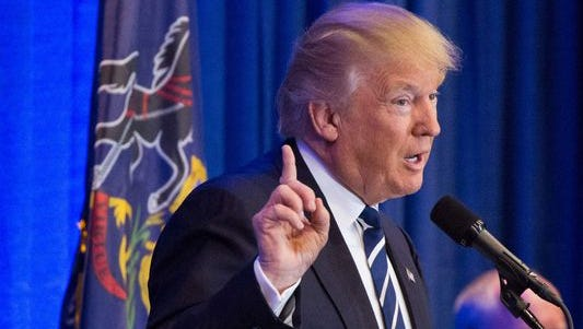 President Donald Trump, shown here during a Pennsylvania appearance, gets so-so ratings from Pennsylvania voters in a recent poll.