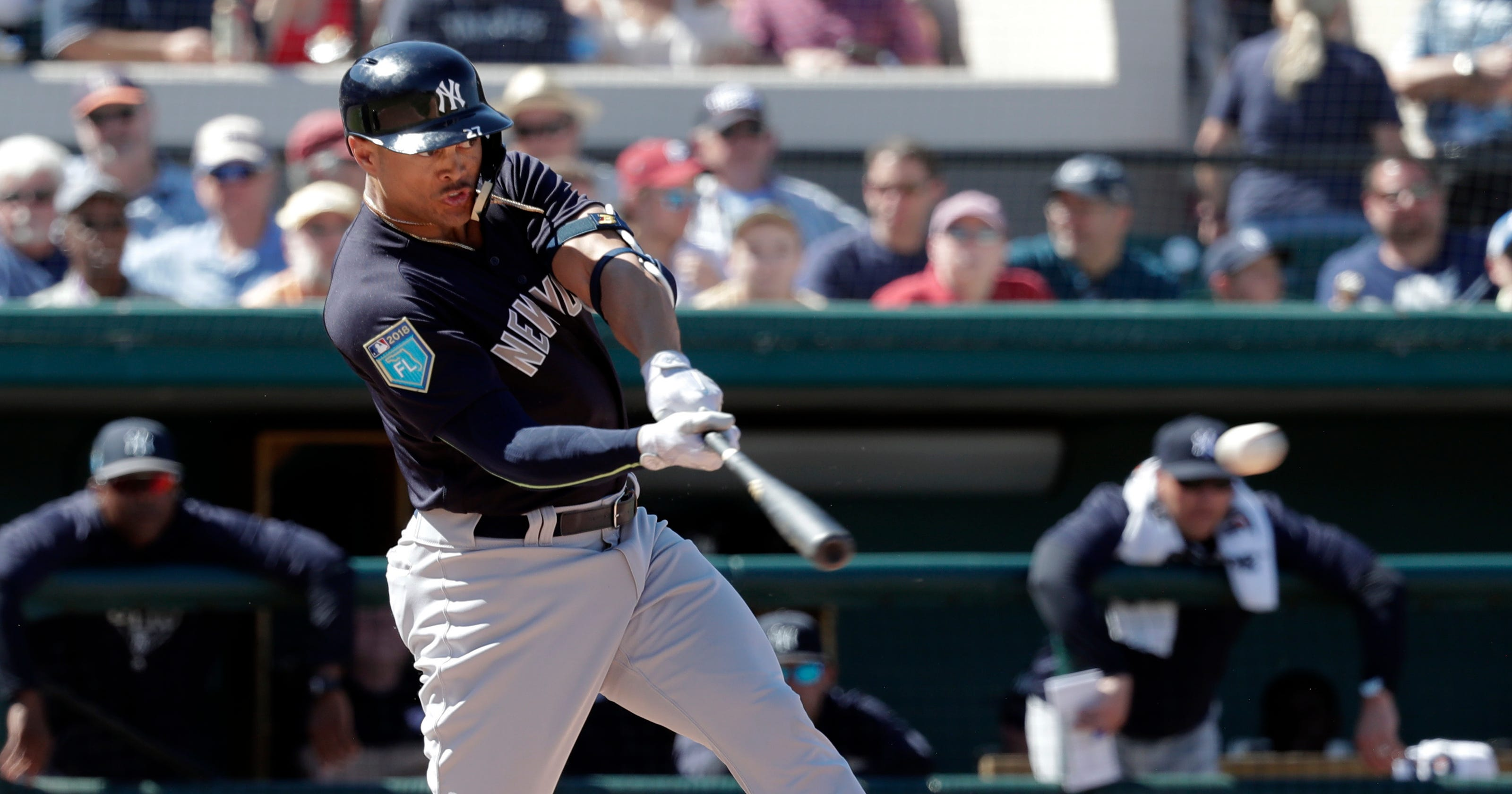 WATCH  Giancarlo Stanton smacks first HR at Yankees spring training c2a8737ea59