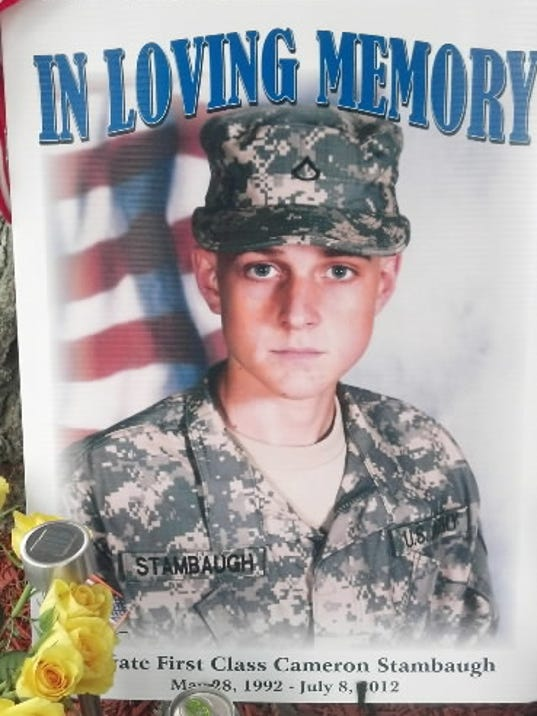 A memorial for Cameron Stambaugh, who was killed in Afghanistan July 8, 2012 at his home in Jackson Township. The photo was taken Tuesday July 10, 2012. YORK DAILY RECORD/SUNDAY NEWS - PAUL KUEHNEL