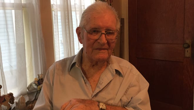 Frank Doolittle, 102, in his home in Bainbridge.
