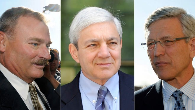 ADDS THAT SCHULTZ HAS ALSO PLEADED GUILTY - FILE - This file combination photo shows former Penn State Vice President Gary Schultz, left, former Penn State Director of Athletics Tim Curley, right, and former Penn State President Graham Spanier, center, in Harrisburg, Pa. Curley and Schultz each pleaded guilty Monday, March 13, 2017, to a misdemeanor child endangerment charge for his role in the Jerry Sandusky child molestation case, more than five years after the scandal broke. Spanier, who was also charged in the case, was not in the Harrisburg courtroom Monday morning, though his attorneys were.  (AP Photos/File)