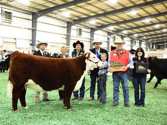 Carlisle Braman, 10, (third from right) won the Supreme Heifer Drive on Feb. 17, 2017, at the San Antonio Stock Show and Rodeo.
