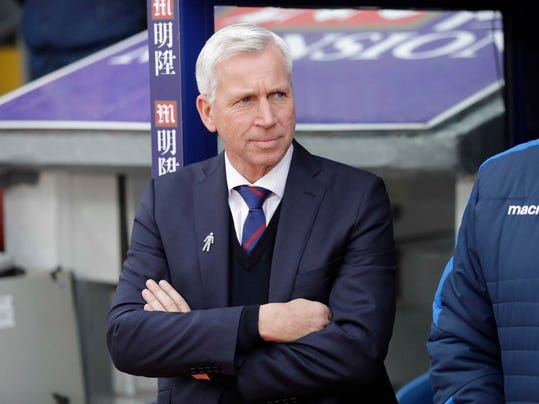 FILE - In this Saturday Dec. 17, 2016 file photo, Alan Pardew takes his place before the English Premier League soccer match between Crystal Palace and Chelsea at Selhurst Park stadium in London. West Bromwich Albion is a club in disarray on and off the field and is heading for relegation from the Premier League. The team has just three league wins all season and is in last place, seven points from safety with 10 games left. Manager Alan Pardew could reportedly be fired if West Brom loses to Watford on Saturday, March 3, 2018 (AP Photo/Matt Dunham, file)