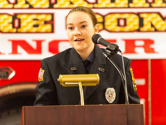 Franklinville Fire Department's Christina Neal speaks