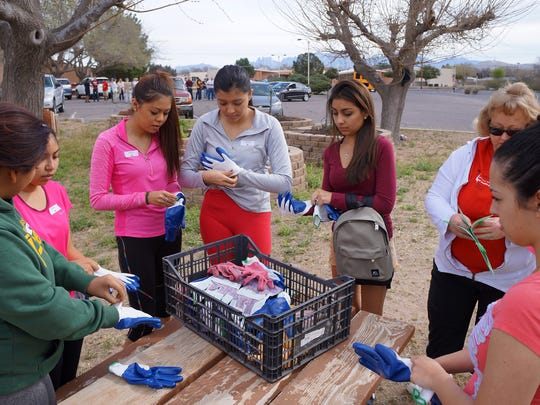 Students with the TRiO and Upward Bound programs at NMSU, along with several faculty and community volunteers, helped clean up the community garden at University United Methodist Church.