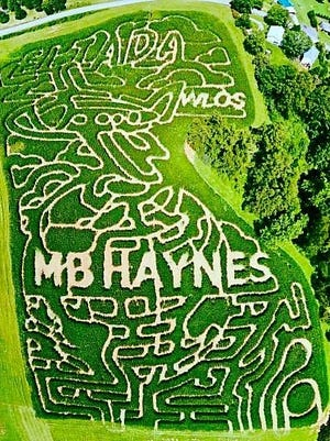 """The 2016 Eliada Corn Maze theme is """"going the distance for Eliada's kids,"""" featuring an airplane and globe, along with the names of its key sponsors."""