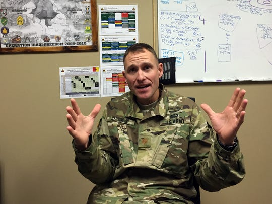 Maj. Russell B. Thomas talks about 1st Brigade's preparation for its upcoming training rotation at the Joint Readiness Training Center at Fort Polk, La.