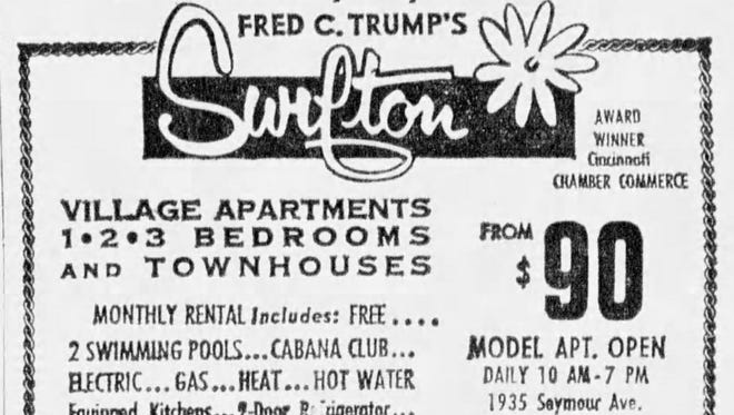 A June 7, 1969 advertisement for the Trump family's Swifton Village apartment complex. Donald Trump helped with the complex, which was sued for racial discrimination. The apartments started in 1969 at $90, the equivalent of $590 today.