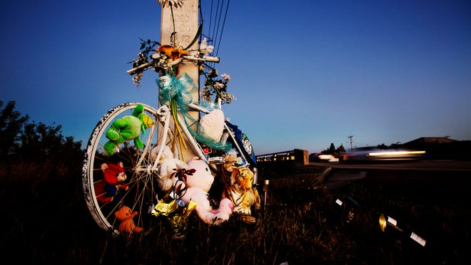 A ghost bike for Austin Dukette was placed at the site where he was killed in Kismet Parkway in Cape Coral. He was one of 12 cyclists killed in Southwest Florida since January of last year. Florida tops the nation is cyling deaths.