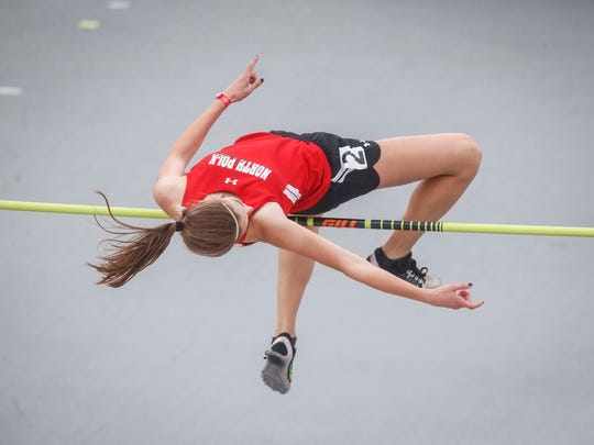 North Polk junior Maria Gorham clears the bar in Class 3A high jump during the 2017 Iowa state track and field meet on Thursday, May 18, 2017, at Drake Stadium in Des Moines.