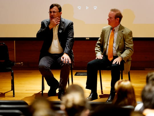 University of Tennessee Professor Glenn Reynolds and Rep. Martin Daniel speak during a panel discussion on corporate welfare and screening of their documentary 'Rigged' at the Alumni Memorial Building at University of Tennessee in Knoxville, Tennessee on Tuesday, September 12, 2017.