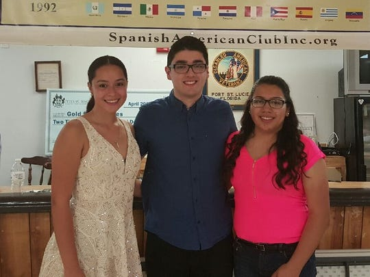 2016 scholarship winners: Ariana M. Ramos (from left), Nicholas Gomez and Alexia Cepeda