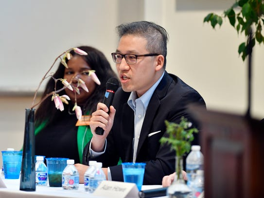 Eric Ding speaks at a candidate forum on April 18, 2018, in York.