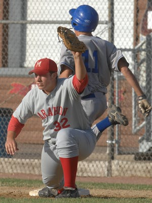 Andy Kaludunski, front, holds one of the top career batting averages for both the Marathon High School and Marathon Legion baseball teams. He graduated in 2008.