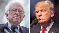 Bernie Sanders (left) and Donald Trump.