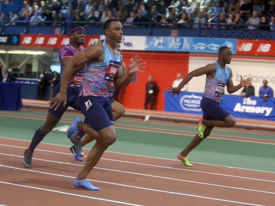 Ronnie Baker of the USA won the Joe Yancey Men's 60 meter race at the Millrose Games at the New Balance Armory in Manhattan Feb. 2, 2018.