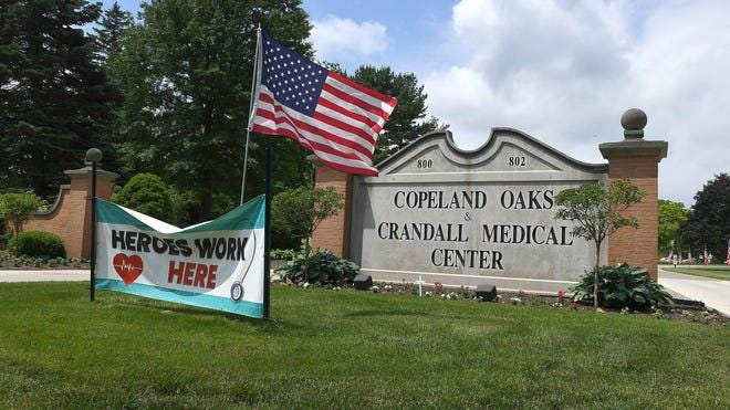 The entrance to Copeland Oaks & Crandall Medical Center in Sebring in Mahoning County. Forty-two residents have died at this facility this year because of COVID-19.