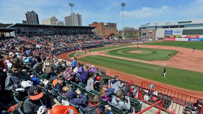 In this May 15, 2019 photo, more than 4,700 fans attend the Erie SeaWolves' game against the Richmond Flying Squirrels in an Eastern League baseball game at UPMC Park.