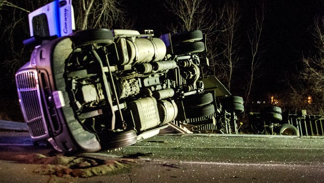 A tractor trailer headed for Ohio overturned on Route 204 Tuesday night.
