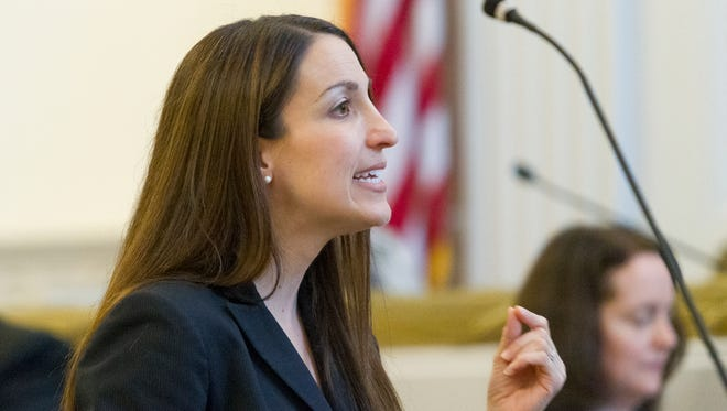 Assistant District Attorney Diane Lama makes her opening argument June 2 in the trial of Jeffrey Horton, of Dryden, who is accused of stalking, raping and assaulting a woman in March 2015.
