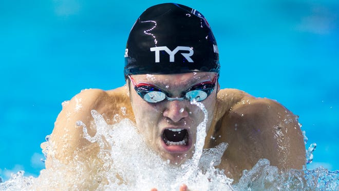 Cody Miller, of the USA, compete in the 100m Breaststroke. Miller won the event in a time of 56:43 to set a new American Record. Swimmers from the United States and Europe competed in the 2015 Duel in the Pool, Saturday, Dec. 12, 2015, at IU Natatorium at IUPUI.