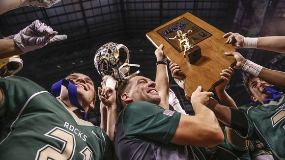 Westfield hoisted the Class 5A football state title trophy in 2016, but will likely move up to 6A next season.