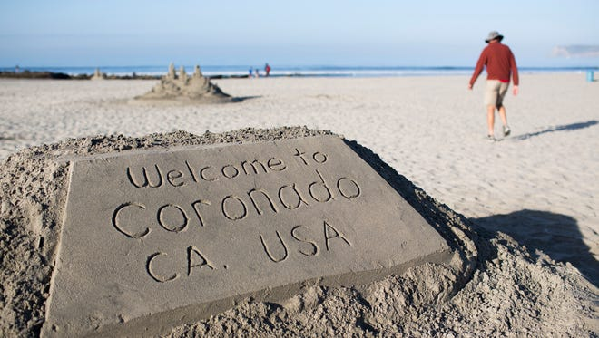 A sand-castle greeting on the beach in front of the Hotel Del Coronado on Coronado Island in San Diego.