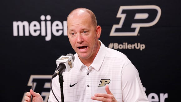 Head coach Jeff Brohm fields questions from the press at the start of Purdue football media day Thursday, August 3, 2017, in West Lafayette.