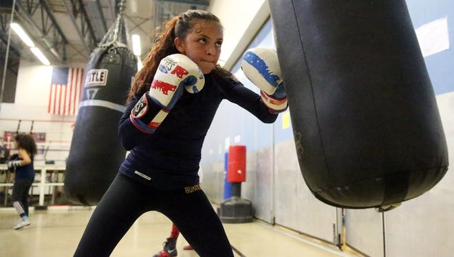 14-year-old boxer Kayla Gomez works out at Officer David Ortiz Recreation Center at 563 N. Carolina Street. She recently returned from the Olympic Training Center in Colorado Springs, CO and is again ranked No. 1 in the nation in her weight class.