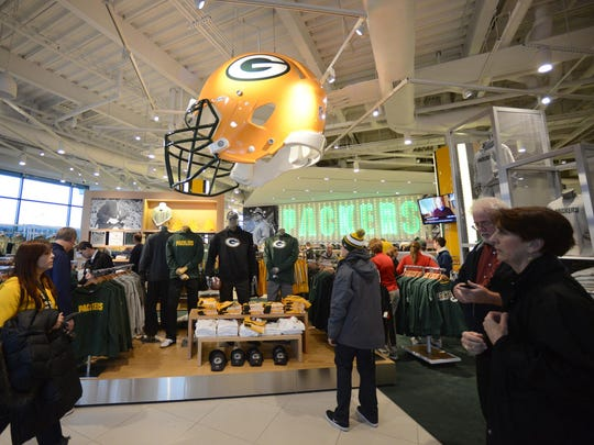 Fans browse in the Packers Pro Shop at Lambeau Field.