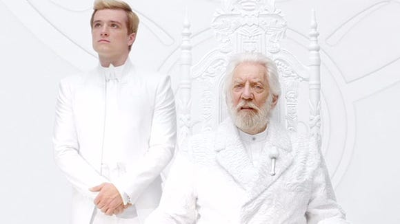 """Peeta and President Snow in """"The Hunger Games: Mockingjay - Part 1."""""""