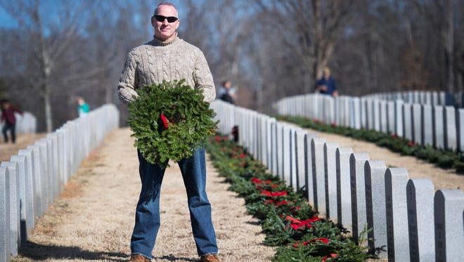 Randy Lydick is pictured at M.J. Dolly Cooper Veterans Cemetery in Anderson during Wreaths Across America on Saturday, December 16, 2017.