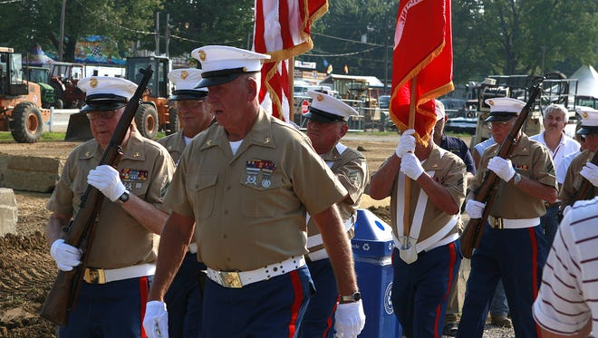 Retired Marines of Clermont County posted the colors to begin the military recognition ceremony at the Clermont County Fair.