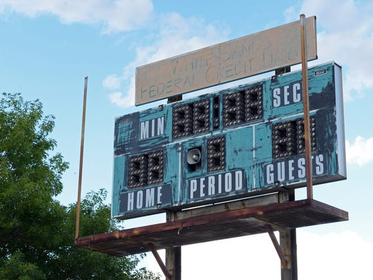 The only scoreboard at the High Noon complex in Las Cruces is run down and no longer used.