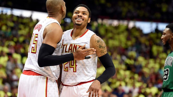 Al Horford (15) and Kent Bazemore (24) might not be teammtes in Atlanta soon.