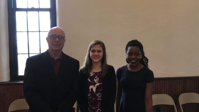 John Marshall, Natalie Haley and Maleeyah Grumbs were honored at Saturday's DAR tea.