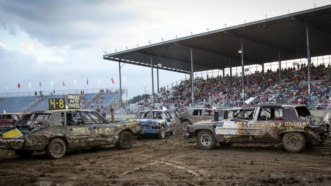 The feature heat at the 6 p.m. Monroe County Fair Demolition Derby on July 30, 2019.