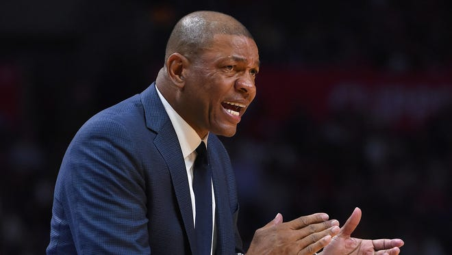 Los Angeles Clippers head coach Doc Rivers in the second half of the game against the Los Angeles Lakers at Staples Center. Clippers won 115-104.