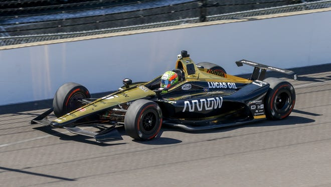 IndyCar driver Jay Howard takes his laps during refresher testing for the Indy 500 at the Indianapolis Motor Speedway on Tuesday, May 1, 2018.
