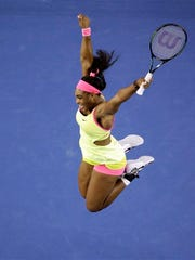 Serena Williams of the U.S. celebrates after defeating