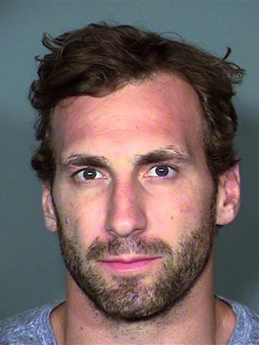 This booking photo provided by the North Las Vegas Police Department shows Los Angeles Kings center Jarret Stoll after his arrest in Las Vegas on April 17, 2015.