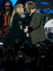 "Stevie Nicks, left, and honoree Tom Petty perform ""Stop Draggin' My Heart Around"" at the MusiCares Person of the Year tribute at the Los Angeles Convention Center on Friday, Feb. 10, 2017."