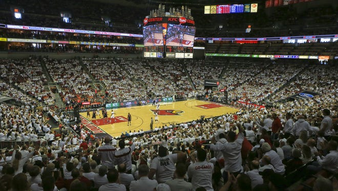 It was White Out day for Louisville versus Virginia Saturday afternoon at the KFC Yum! Center. Jan. 30, 2016