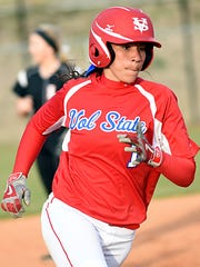 Volunteer State Community College freshman Ashleigh Stratton rounds third base before scoring a fifth-inning run during Monday afternoon's second game, an 11-7 victory. Stratton – a Hendersonville High product – had two hits, scored three runs and drove in two runs in the contest.