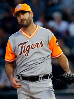 Tigers pitcher Justin Verlander reacts during the first inning against the White Sox on Friday, Aug. 25, 2017, in Chicago.