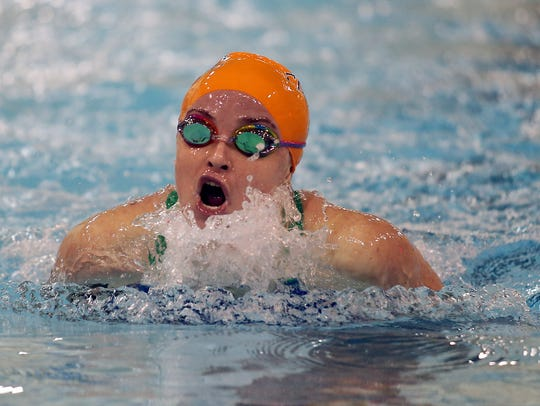 Trinity Hall's Lauren Joyce swims the breaststroke